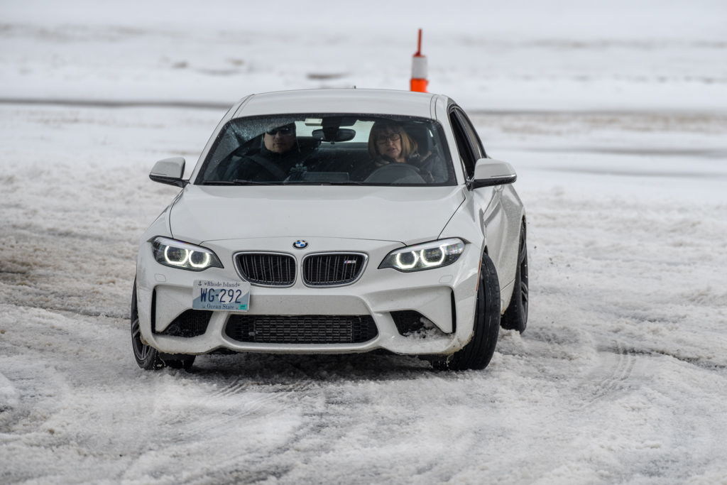 BMW sliding on snow